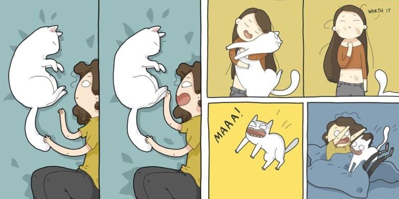 18 правдивых комиксов о жизни с кошкой