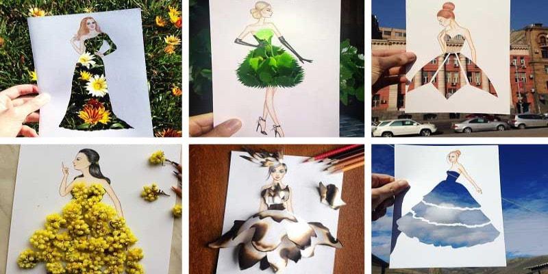 Вырезанные из бумаги женские платья на фоне повседневных предметов