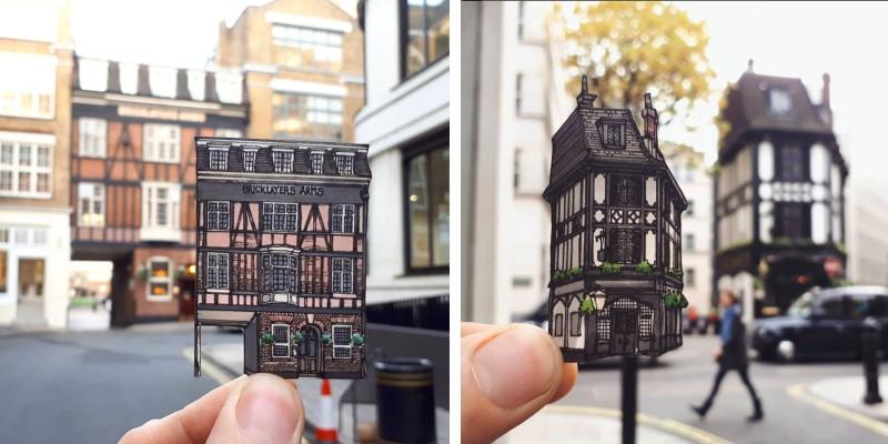 Фасады пабов Лондона из бумаги