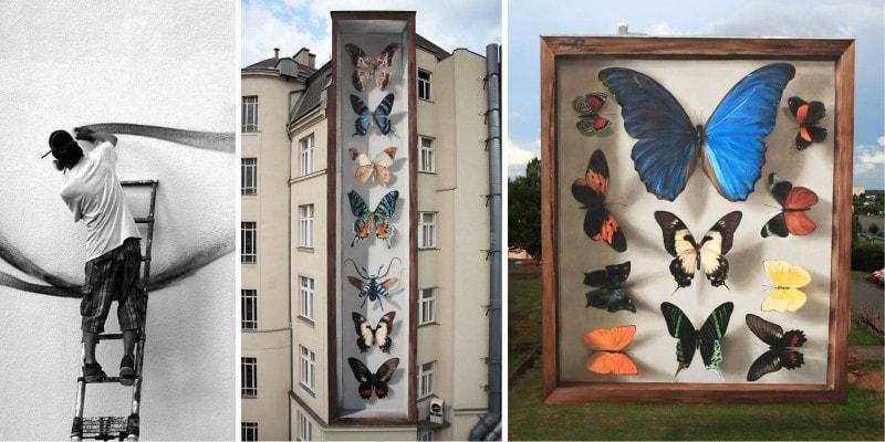 Гигантские бабочки на улицах Франции от стрит-арт художника