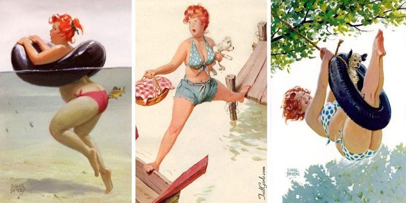 Сексуальные иллюстрации с толстушками в стиле 50-х