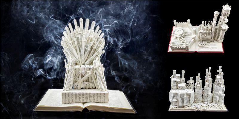 """Скульптуры из книжных страниц серии  """"Игра престолов"""""""