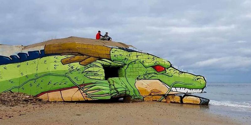 Голова дракона на французском пляже