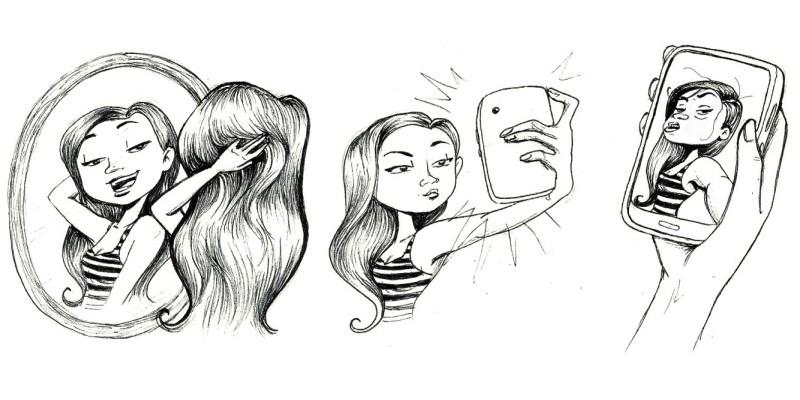 Забавные иллюстрации на тему селфи